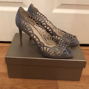 Crystal Laser Cut Giorgio Armani Peep Toe Pumps